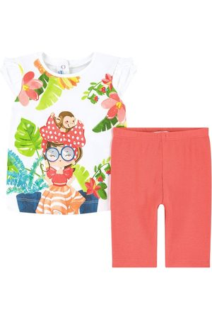 Mayoral T-shirts - Tropical Print T-Shirt Set - Girl - 6 months - - Outfit sets