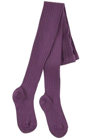 CONDOR Aubergine ribbed knit Baby tights - Unisex - 0-3 months - - Tights