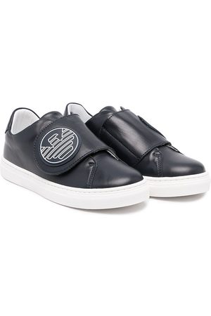 Emporio Armani Kids Logo-patch touch-strap sneakers