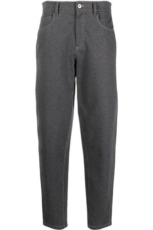 Brunello Cucinelli High-waist stretch-cotton trousers