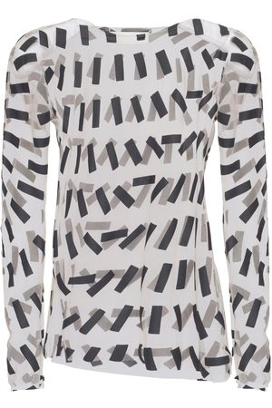 Maison Margiela Printed Sheer Stretch Tulle Top