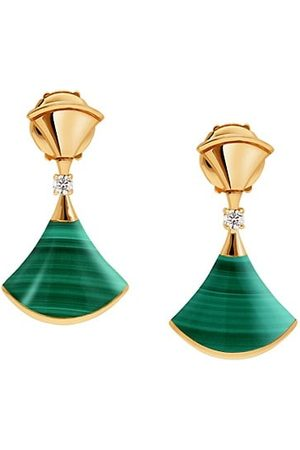 Bvlgari Divina 18K Yellow , Malachite & Diamond Drop Earrings