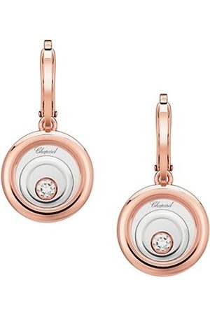 Chopard Happy Spirit 18K Rose , 18K White & Diamond Drop Earrings