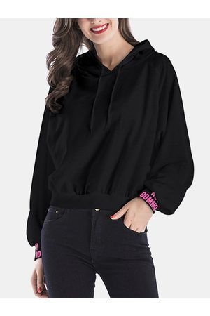 YOINS Active Round Neck Letter Pattern Sports Hoodies in