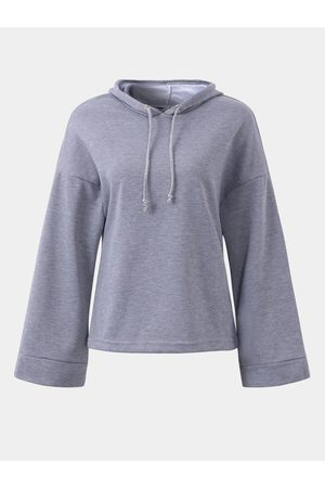 YOINS Active Round Neck Flared Sleeves Hoodies in