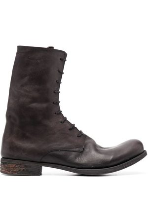 A DICIANNOVEVENTITRE Distressed-effect lace-up boots
