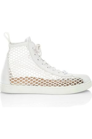 Gianvito Rossi Leather & Mesh High-Top Sneakers