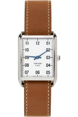 Men Watches - TOM FORD Brown & Silver Leather 001 Watch