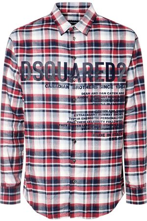Dsquared2 Logo Print Check Cotton Flannel Shirt