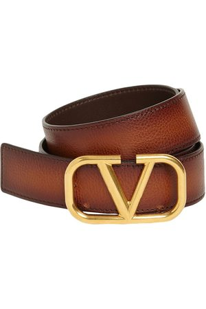 VALENTINO GARAVANI 3.5cm V Buckle Leather Belt