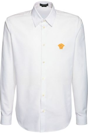 VERSACE Medusa Embroidery Oxford Cotton Shirt