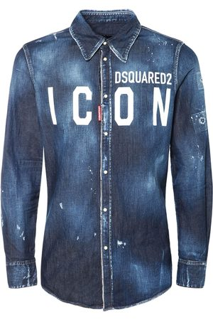 Dsquared2 Icon Print Western Cotton Denim Shirt