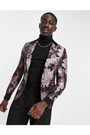 Twisted Tailor Suit jacket with contrast lapel in black and floral jaquard