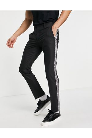 Twisted Tailor Suit trousers with sequin tape in black