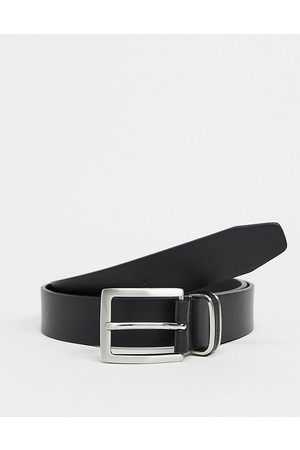 French Connection Leather inlay keeper belt in