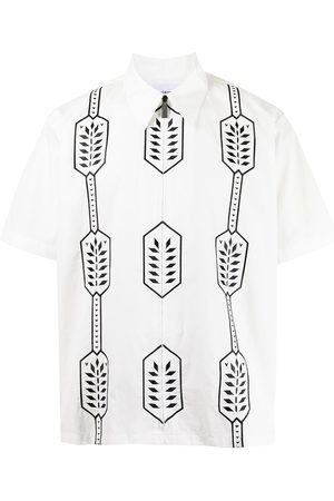 Ports V Shirts - Geometric-print cotton shirt