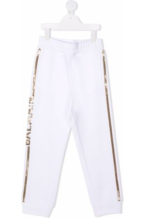 Balmain Girls Pants - Sequined belted track pants