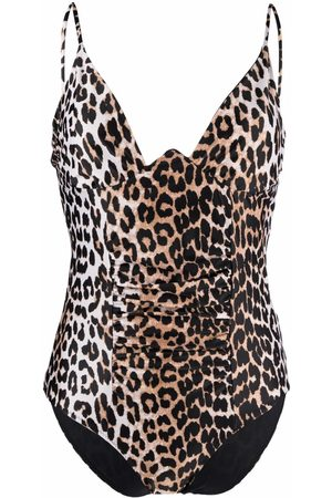 Ganni Women Swimming Costumes - Leopard-print ruched swimsuit