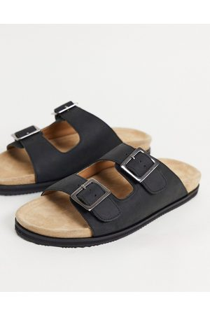 WALK LONDON Sunset double strap sandals in black leather