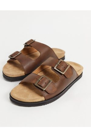 WALK LONDON Sunset double strap sandals in leather