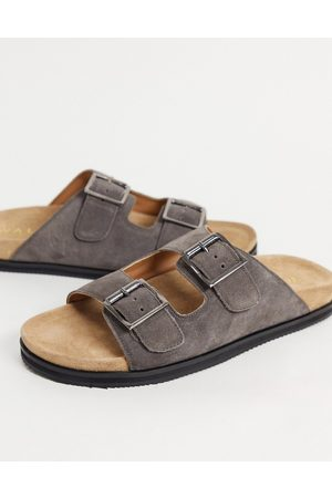 WALK LONDON Sunset double strap sandals in taupe suede