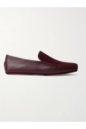 Manolo Blahnik Men Shoes - Mayfair Leather and Suede Driving Shoes