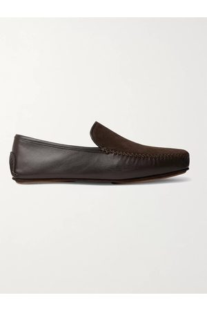 Manolo Blahnik Mayfair Leather and Suede Driving Shoes
