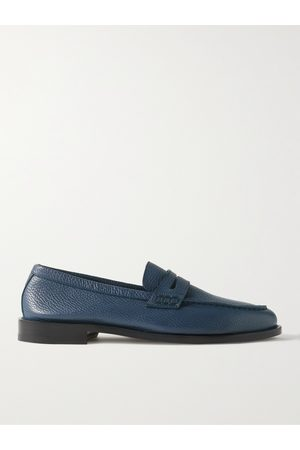 Manolo Blahnik Perry Full-Grain Leather Penny Loafers