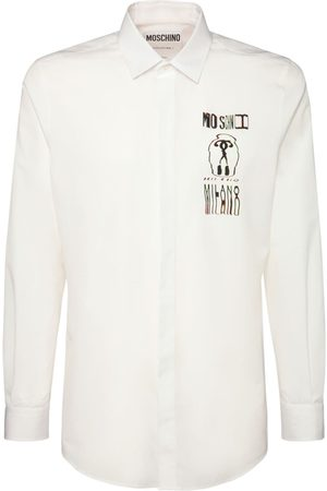 Moschino Glitch Logo Print Cotton Shirt