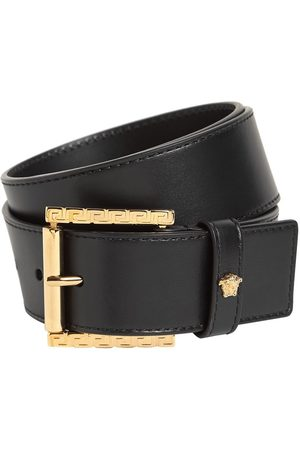 VERSACE Men Belts - 4cm Trigreca Details Leather Belt