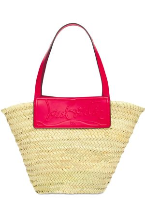 Christian Louboutin Large Loubishore Straw & Leather Tote