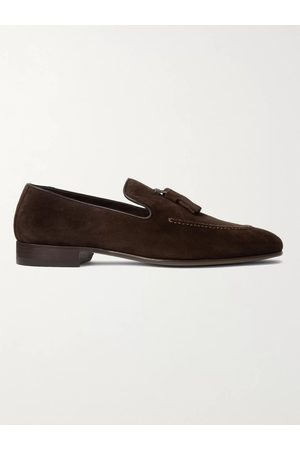 Manolo Blahnik Men Loafers - Chester Leather-Trimmed Suede Tasselled Loafers