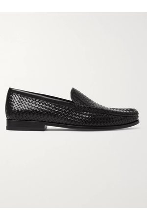 J.M. Weston Collapsible-Heel Woven Leather Loafers