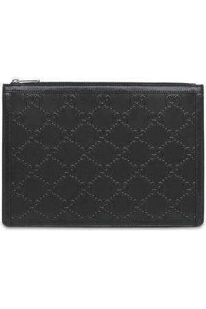 Gucci Men Wallets - Gg Embossed Leather Pouch