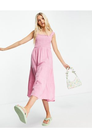 New Look Shirred strap tiered midi dress in