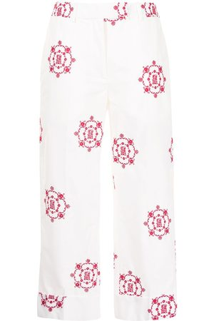 Simone Rocha Logo-embroidered cropped trousers