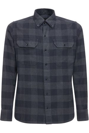 Tom Ford Grand Check Cotton Gingham Leisure Shirt