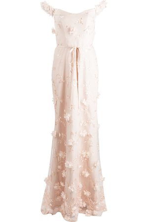 Marchesa Notte Floral-embroidered floor-length gown