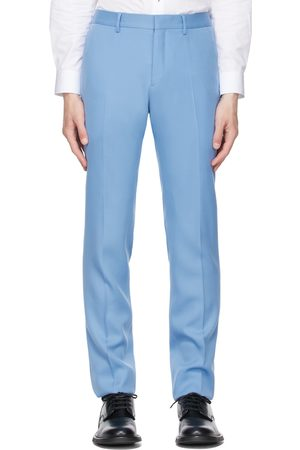 Burberry Blue Wool Tailored Tuxedo Trousers