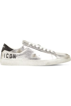DSQUARED2 Boxer Icon Metallic Leather Low Sneakers
