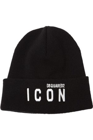 Dsquared2 Men Beanies - Icon Patch Wool Knit Beanie