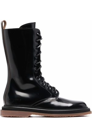 Buttero Polished-leather lace-up boots