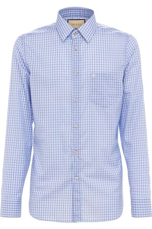 Gucci Men Shirts - Gg Mini Check Cotton Tailored Shirt