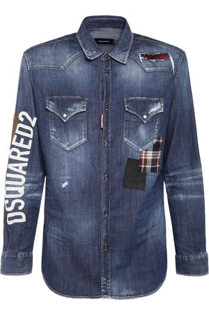 Dsquared2 Logo Print Patched Stretch Denim Shirt