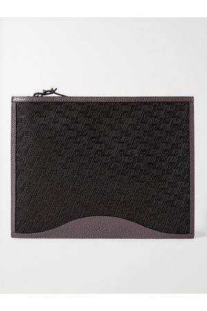 Christian Louboutin Logo-Jacquard Coated-Canvas and Full-Grain Leather Pouch