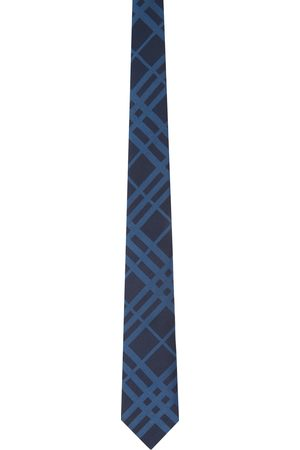 Burberry Navy Silk Check Classic Cut Tie