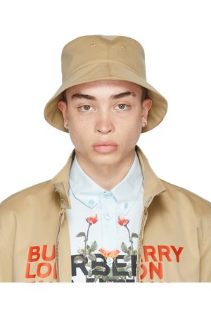 Men Hats - Burberry Reversible Beige Logo Bucket Hat