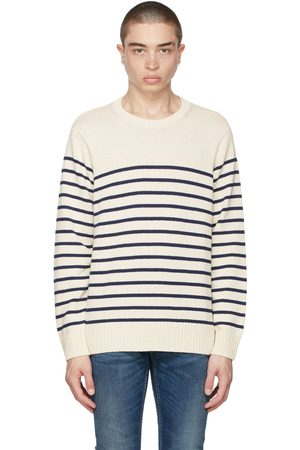 Nudie Jeans Off-White & Navy Striped Hampus Sweater