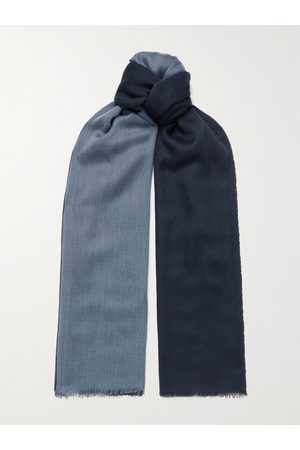 Loro Piana Men Scarves - Fringed Colour-Block Cashmere and Silk-Blend Scarf