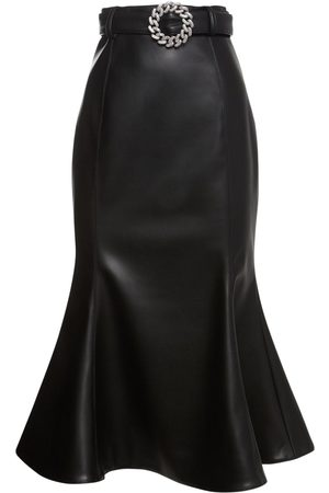 GIUSEPPE DI MORABITO Belted Faux Leather Midi Skirt